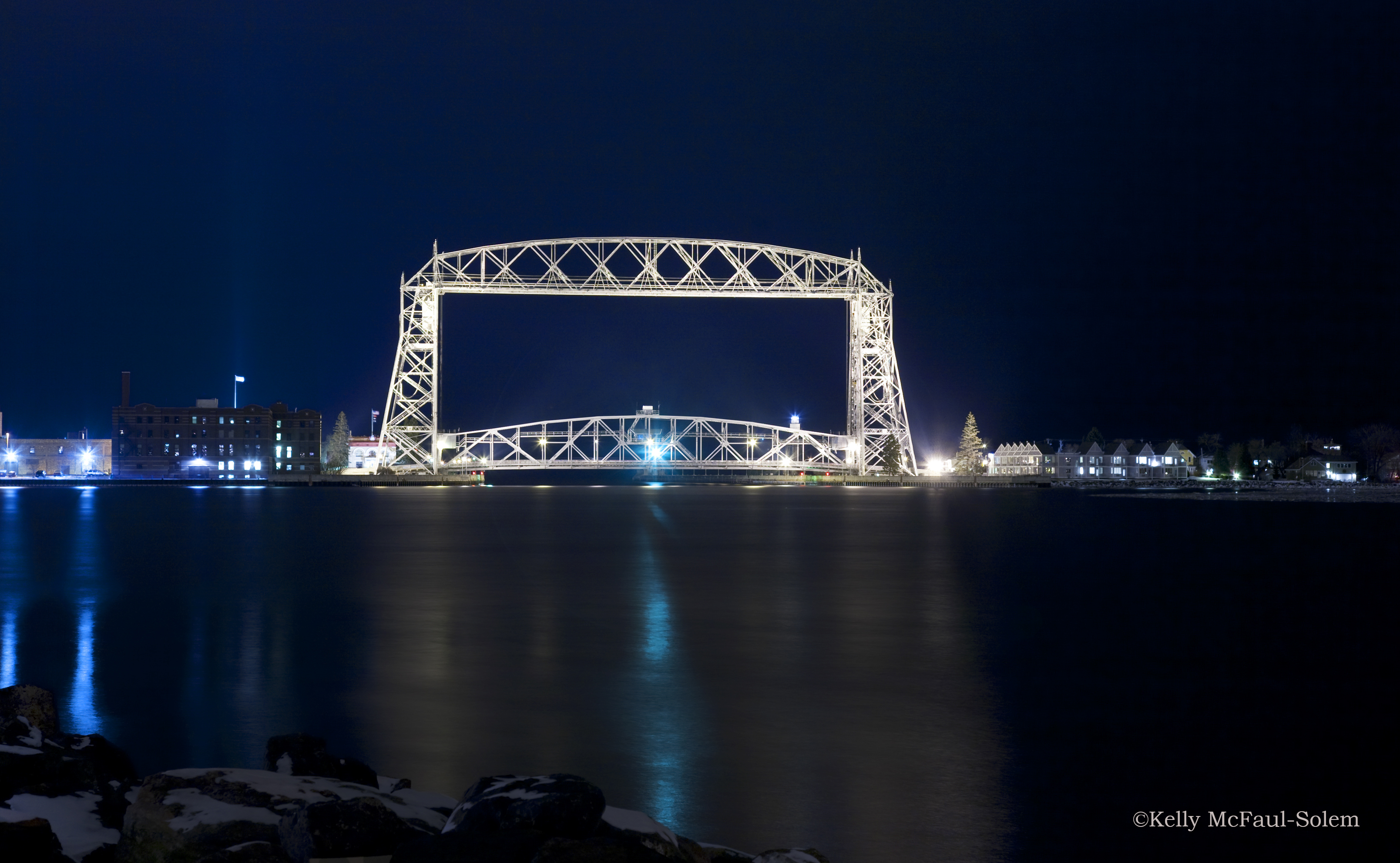 Duluth Ariel Lift Bridge at night.