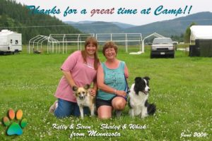 Shirley and Whisk, Kelley and Siren from Minnesota at Agility Camp